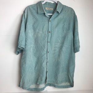 Tommy Bahama 100% silk leaf print button up shirt